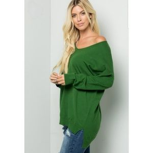 NWT Relaxed Fit Soft VNeck Hi-Lo Knit Sweater